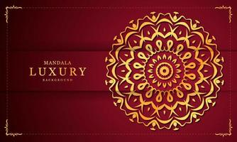 guld och röd blommig lyx dekorativ mandala