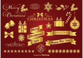 Goldene Weihnachtselemente vektor