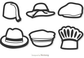 Svartvitt vektor hattar pack 2