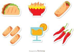 Mexikanische Lebensmittel Icons Vektoren Pack