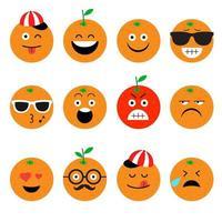 Orangenfrucht Emoji Set vektor