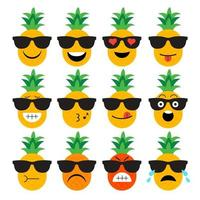 Ananasfrucht Emoji Set vektor