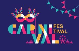 karneval typogrphy affisch med mask och krans vektor
