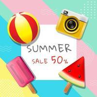 fyrkantigt pastellkort med sommarförsäljningstext vektor