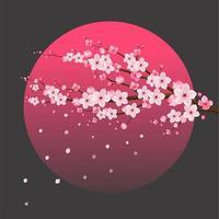 körsbärsblomma sakura över månen vektor