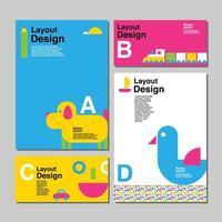 färgglada kortmalluppsättning med barndomsartiklar vektor