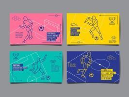 fotboll eller fotboll horisontella affischuppsättning vektor