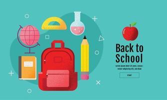 Zurück zum Schulplakat mit Rucksack