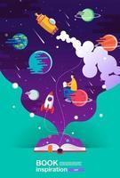 vertikales Plakat mit Raum-Szene, die vom Buch kommt