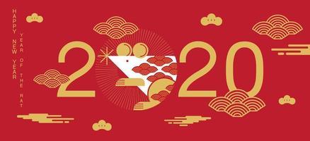kinesiskt nyårsbanner med 2020 och vit råtta vektor