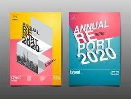 täckning för årsrapport i färgglad stil