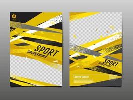 leuchtend gelbe und schwarze Sportschablonenset vektor