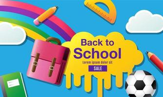 Farbe flach zurück zur Schule Verkauf Banner