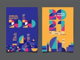 uppsättning av 2 färgglada årsrapporter