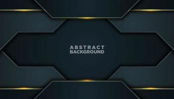 dunkelgrauer abstrakter Hintergrund mit Schichten und leuchtenden Goldlinien vektor