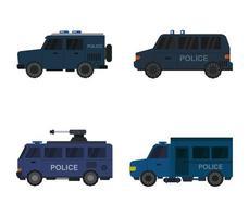 polis fordon ikonuppsättning vektor