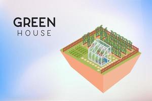 växthus runt fruktplantor trädgård och kartong fält vektor