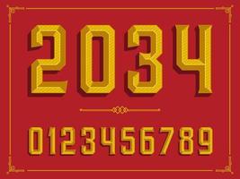 Retro golden abgeschrägte Zahlen vektor