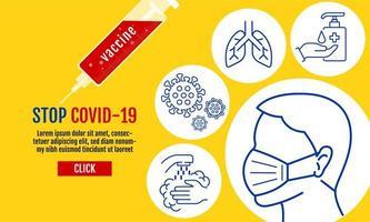Stoppen Sie das Covid-19-Vorlagenbanner