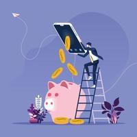 Geschäftsmann, der online Geld verdient vektor