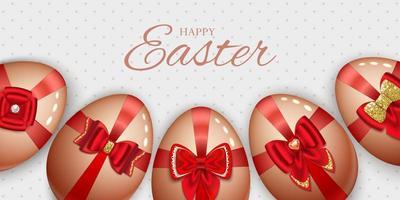 glad påsk banner med ägg med pilbågar vektor