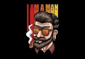 Retro Mann rauchen vektor