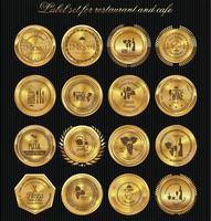 gyllene etikettuppsättning för restaurangmeny design