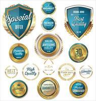 Retro blau und gold Abzeichen und Etiketten Sammlung