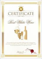 bästa vitt vin certifikat vektor