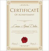 gyllene certifikat eller examensdesign vektor