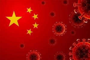 chinesische Flagge mit Viruszellen