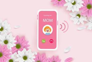 inkommande samtal från mamma mors dag bakgrund vektor