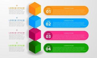 Infografik mit sieben bunten Optionen und Würfeln vektor