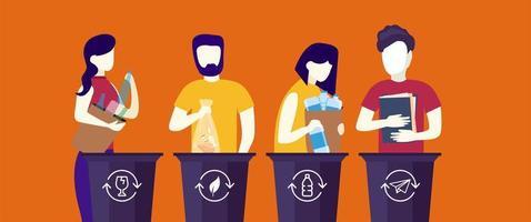 lustige flache Art Leute, die Müll in Mülleimer legen