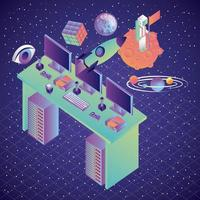 Virtual-Reality-Schreibtischcomputer mit Galaxie