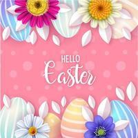 gepunktetes rosa Osterplakat mit Blumen und Eiern