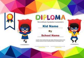 polygona förskola superhjälte diplom för barn vektor