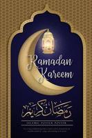 halvmåne och lykta ramadan kareem affisch vektor