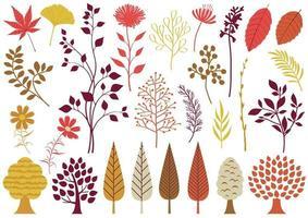 uppsättning höst botaniska element vektor