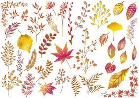 Satz goldener thematisierter Herbstelemente