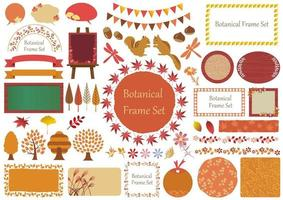 Satz botanischer grafischer Elemente des Herbstes