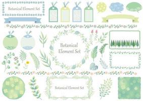 Satz von grünen und blauen grafischen botanischen Elementen
