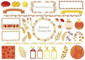 Satz orange und gelbe botanische Elemente