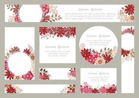 uppsättning akvarell blommiga bakgrunder med textutrymme