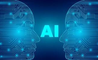 artificiell intelligens cyborg teknik koncept vektor