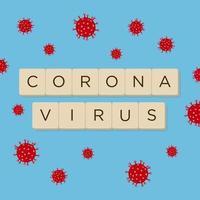 coronavirus text på blått med röda celler