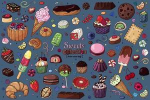 färgglada sötsaker samling vektor