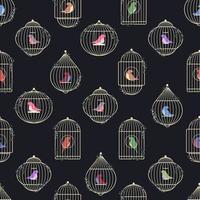 fåglar i burar sömlösa mönster vektor