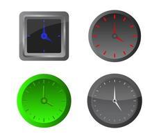 Satz graue und grüne Uhren