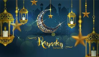 Ramadan Kareem Poster mit reich verziertem Halbmond vektor